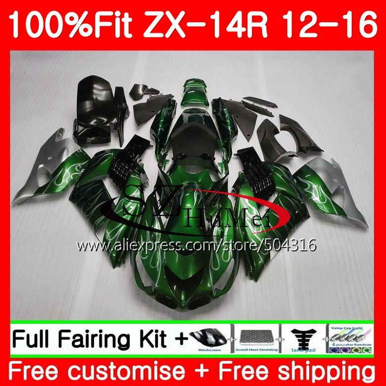 Ad iniezione Per KAWASAKI NINJA ZZR 1400 ZX 14R ZZR1400 25SH18 ZX14R 12 13 14 15 16 ZX-14R 2012 2013 2014 2015 Carena nero Argento