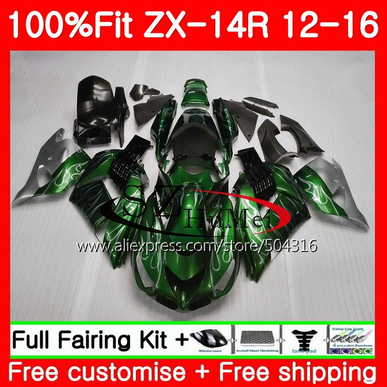 Injection For KAWASAKI NINJA ZZR 1400 ZX 14R ZZR1400 25SH18 ZX14R 12 13 14 15 16 ZX-14R 2012 2013 2014 2015 Fairing Silver black