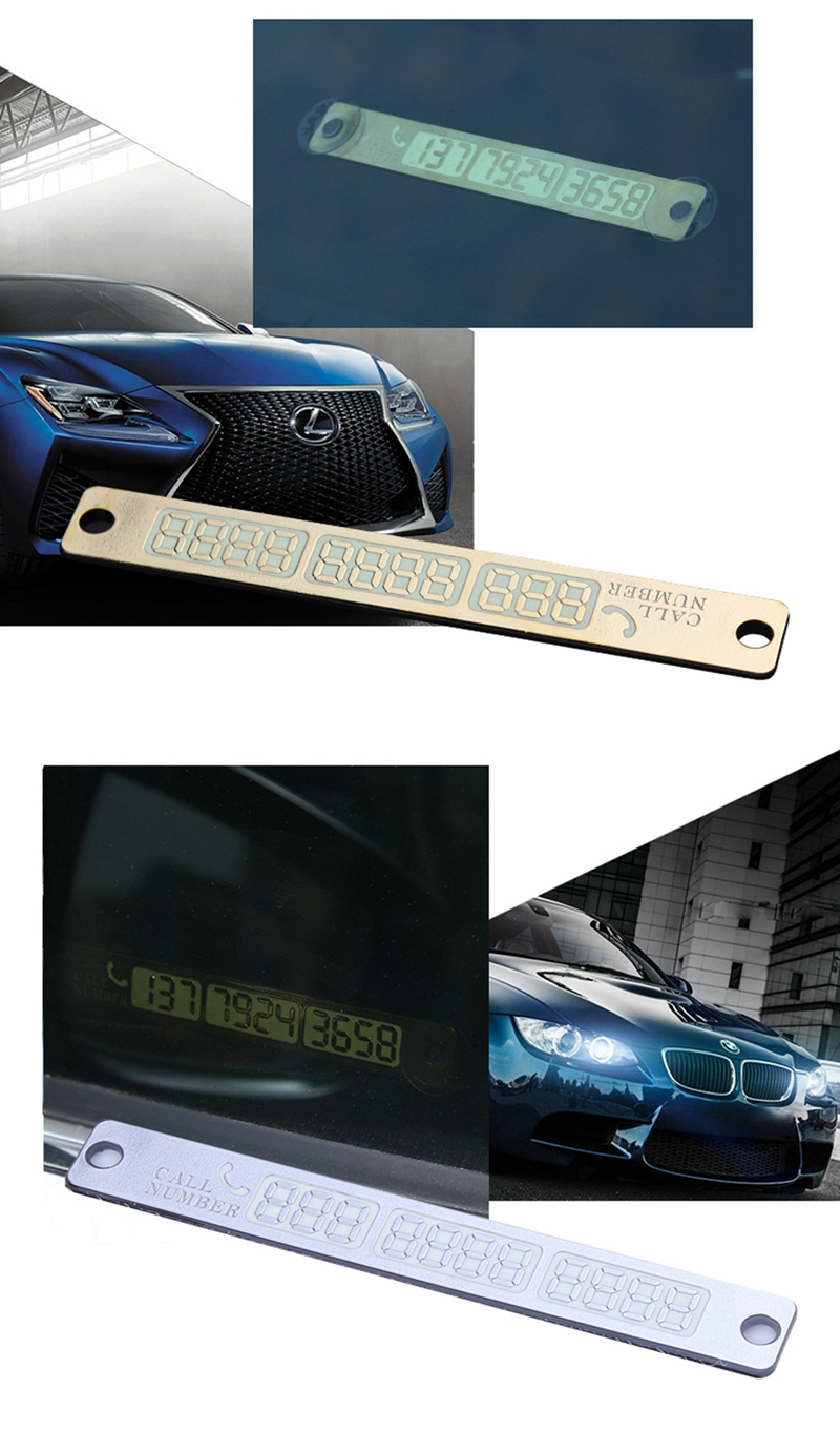 Temporary Car Parking Card Sticker Telephone Number Card Notification Night Light Sucker Plate Car Styling Phone Number Card 3