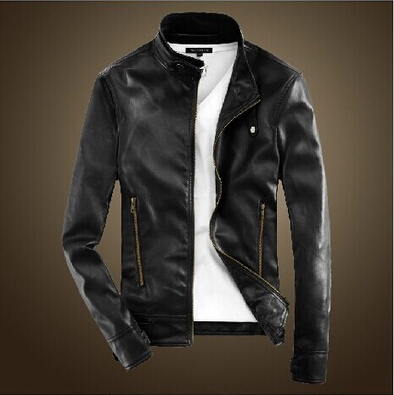 men casual leather jacket 2016 Autumn England Style Korean Slim Stand Collar  Zipper Design Jacket Coats Men-in Faux Leather Coats from Men s Clothing    ... 06cccc924ce6