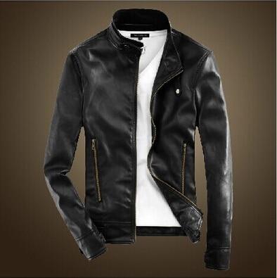 men casual leather jacket 2016 Autumn England Style Korean Slim Stand Collar Zipper Design Jacket Coats Men
