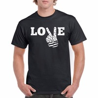 Tee Shirt erkekler Için 2018 Yeni Tee Gömlek Baskı Erkek/Boy Tişört Aşk Barış El Yaz Stil T gömlek