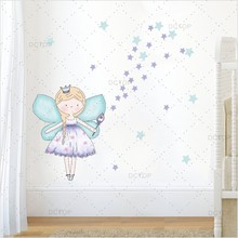 Beautiful Fariy Clipart Color Wall Sticker For Girl Bedroom Art Decor Cartoon Diy Decals Poster Wallpaper Home