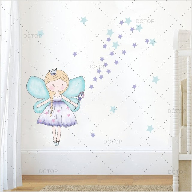 US $6.38 24% OFF|Beautiful Fariy Clipart Color Wall Sticker For Girl  Bedroom Wall Art Decor Cartoon Diy Wall Decals Poster Wallpaper Home Decor  -in ...
