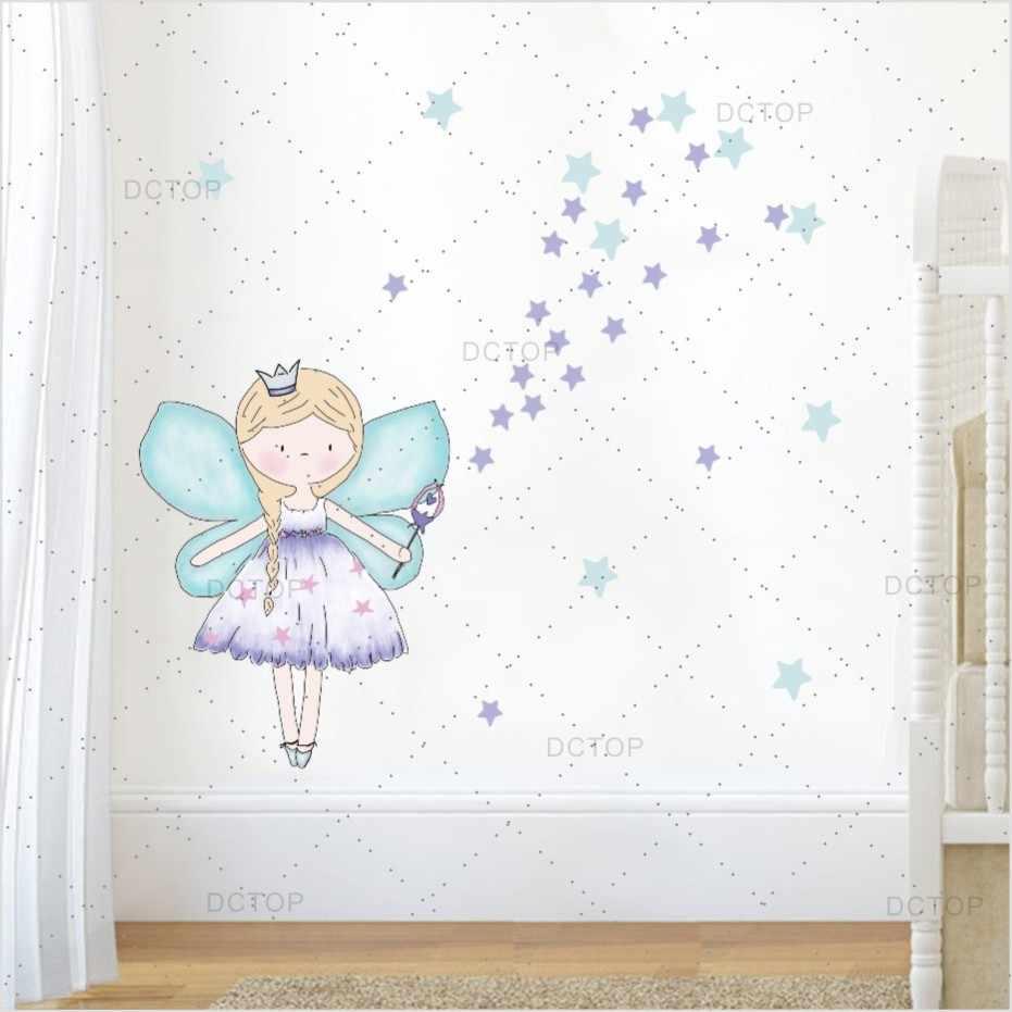 Beautiful Fariy Clipart Color Wall Sticker For Girl Bedroom Wall Art Decor  Cartoon Diy Wall Decals Poster Wallpaper Home Decor