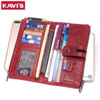 KAVIS Genuine Leather Women Wallet Female Coin Purse Hasp Portomonee Clutch Phone Bag Lady Handy Card Holder Long for Girl Red