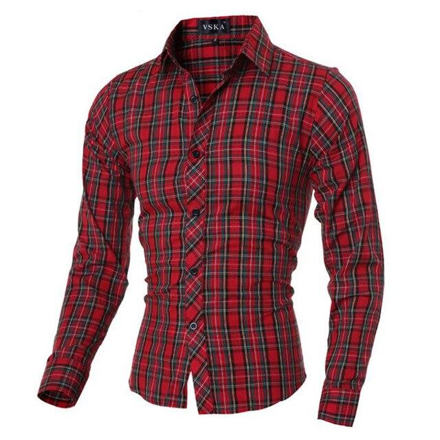 Rode Overhemd.2017 Lente Herfst Kenmerken Rooster Katoenen Shirts Mannen Casual