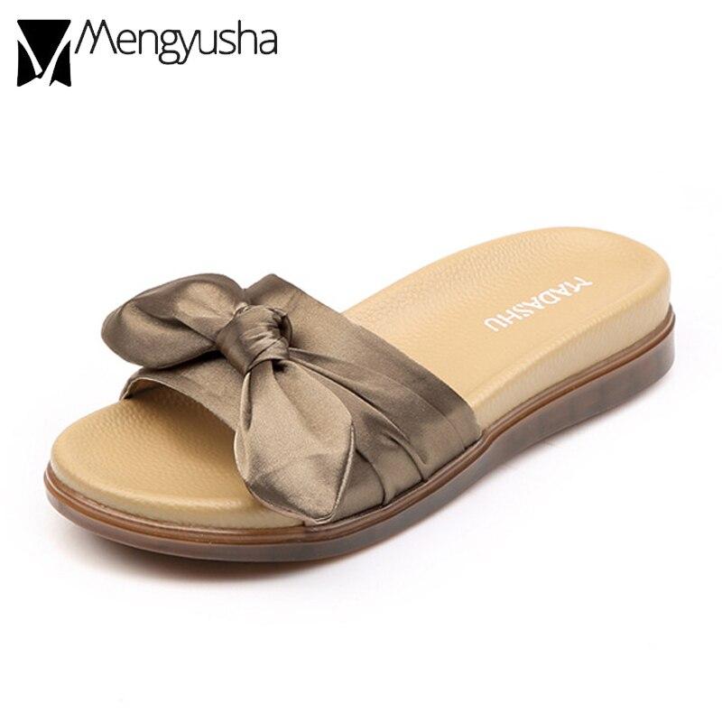 Riband Bow Knot Open Toe Beach Sandals Women Soft Comfort -8755