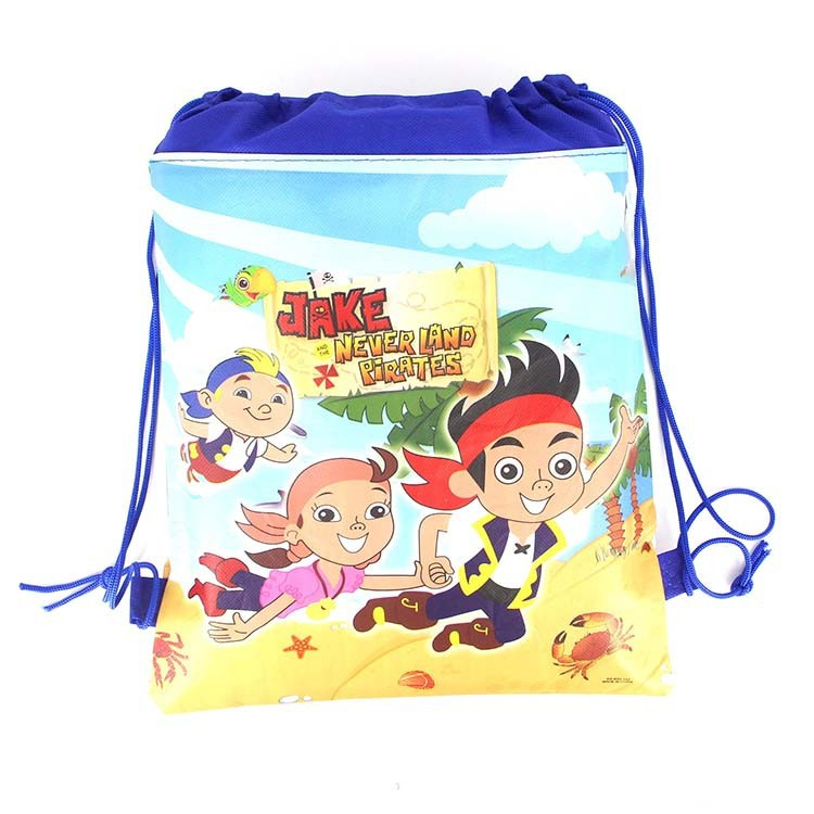 1PCS 36 25cm Jack Pirates cartoon non woven bag fabrics drawstring backpack schoolbag shopping gift bag in Gift Bags Wrapping Supplies from Home Garden