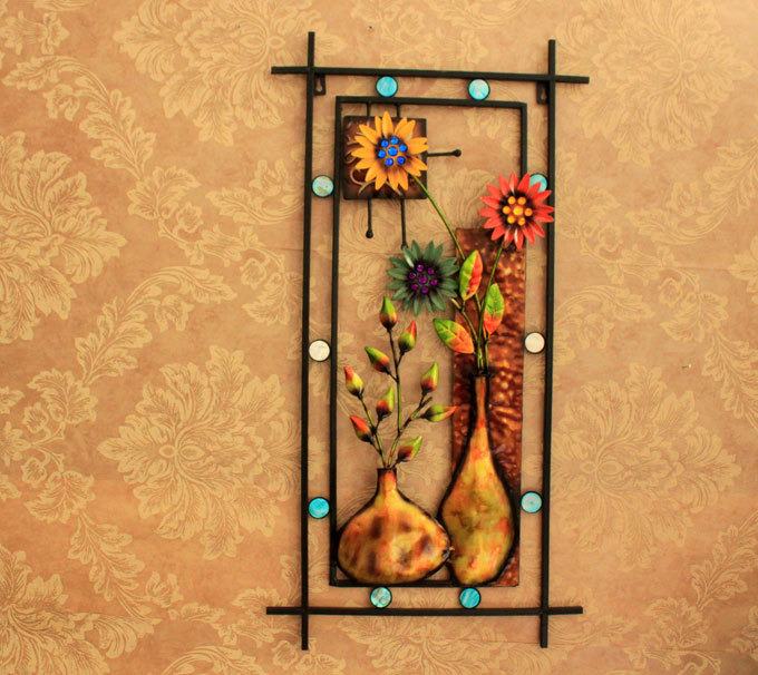 7740cm Vintage Solid Iron Flower Vase Wall Hanging Grill Plaque Handmade Painted Living Room Study Metal Sculpture Art Display On Aliexpress