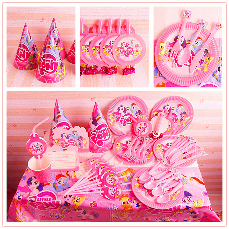 135pcs Disposable Tableware sets Little Horse TableCloth cups Paper plate Napkin Kids Boy Birthday Party Decoration