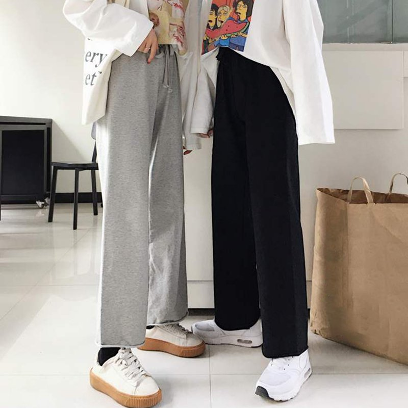 2019 New Women Polyester High Waist Casual Elastic Waist Straight   Wide     Leg     Pants   Elastic Waist Pockets Casual Trousers