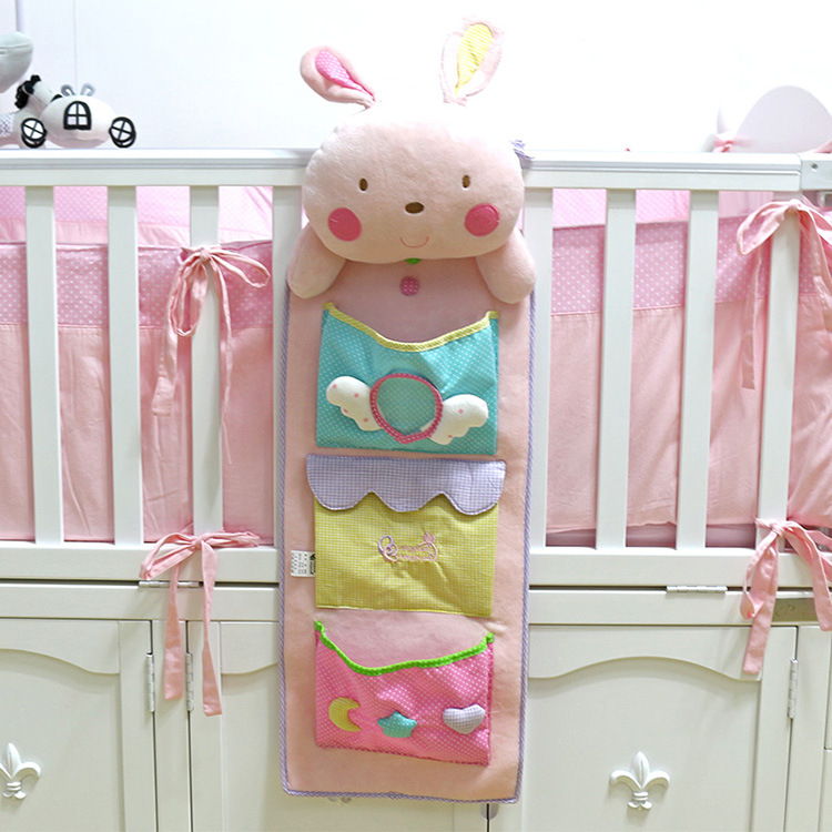 Cute Baby Bed Hanging Storage Bag Nappy Bag Crib Organizer