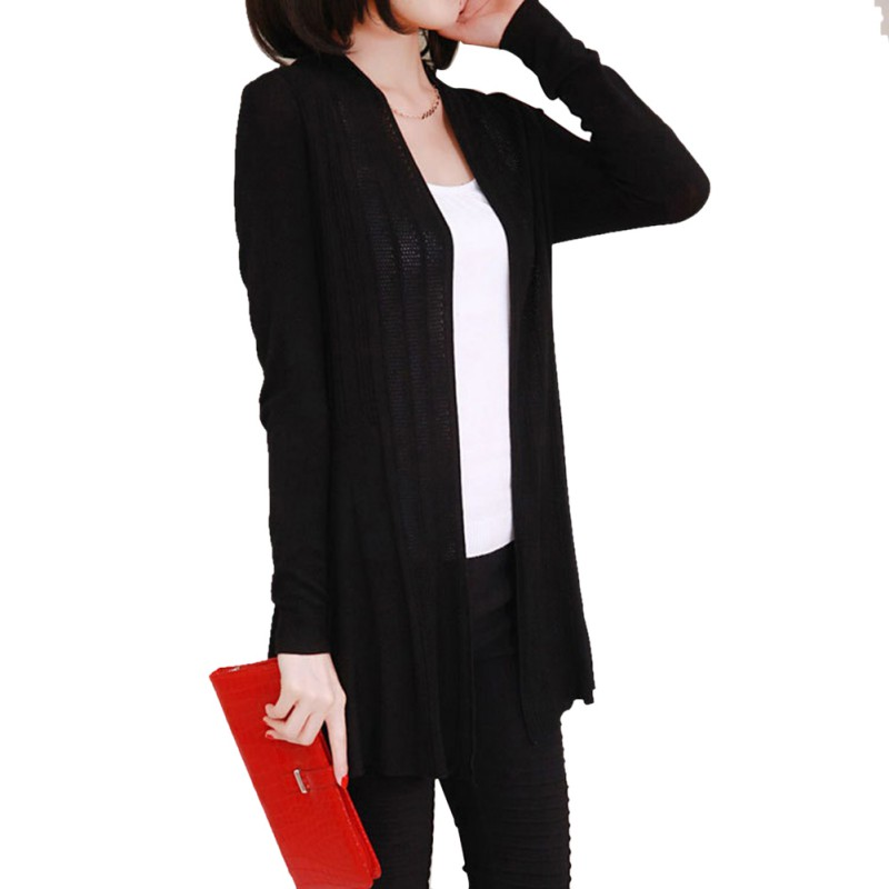 Women Autumn Winter Sun Protection Coat Knit Long Sleeve Sweater Cardigan Jacket