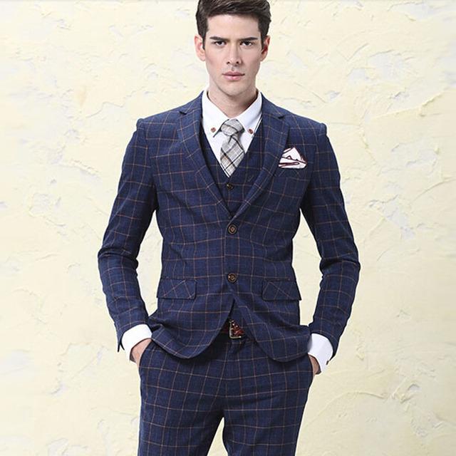 Más el tamaño S-5XL moda hombres trajes de 3 unidades set Masculina adapte el novio se casó con traje de boda formal de la manera formal de negocios vestido