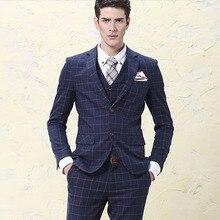 Плюс размер S-5XL мода мужские костюмы 3 шт. набор Мужской костюмы жениха замуж свадебный костюм мода формальный бизнес формальный платье