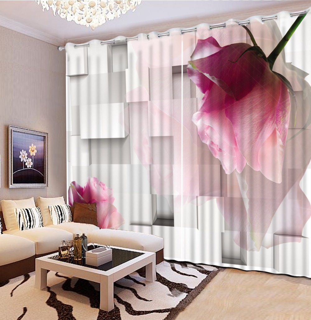 사진 사용자 정의 크기 커튼 거실 3d 입체 꽃 사용자 정의 커튼 홈 침실 장식