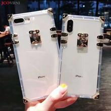 JCOVRNI стильный прозрачный ТПУ задняя крышка для iphone xs xr 8 plus Позолоченные Угловые кнопки ударопрочный чехол для мобильного телефона