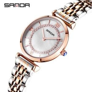 Image 4 - Sanda đồng hồ phụ nữ không thấm nước hoa hồng vàng thép với kim cương mẹ của ngọc trai quay số đầy sao thạch anh người phụ nữ đồng hồ đeo tay relogio feminino