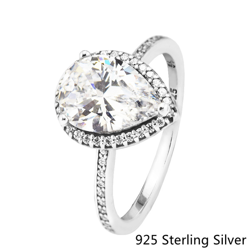 Radiant Teardrop Ring With Cz Authentic 925 Sterling