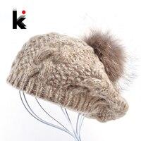 2018 الشتاء الراكون الفراء pompom قبعة السيدات متماسكة القبعات الصوف قبعة اليد محبوك قبعة الإناث القبعات للنساء بوينا الأنثوية gorras
