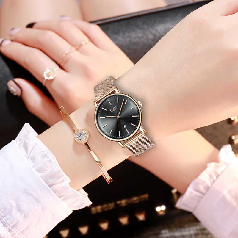 LIGE Women Watch Top Brand Luxury Super Waterproof Wristwatch Ladies Stainless Steel Waterproof Wristwatch Quartz Watches+Box
