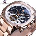 Бренд Forsining, мужские механические часы, супер класс, автоматические Moonphase Tourbillon Earth Date, розовое золото, стальной ремень, часы Relogio