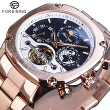 цены Forsining Brand Mens Mechanical Watches Super Grand Automatic Moonphase Tourbillon Earth Date Rose Gold Steel Belt Watch Relogio