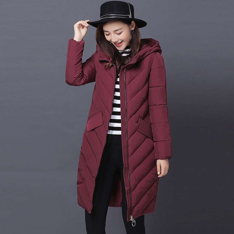 Fashion Slim Winter Thick Hooded Cotton Coats Women Cotton Coats Female Jackets Overcoat Long Wadded Padded Warm Parkas FP0017 2017 winter women parkas slim feathers collar female cotton padded coats jackets long thick warm hooded new hot la1013b 16608
