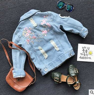 Baby Girl Hole Denim Jacket 2019 New Kids Girls Embroidered Flowers Hole Jacket Overcoat Children Jeans Clothes