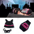 Crochet Newborn Batgirl Hot Pink Batman Cap Set Baby Photography Props Comic Superhero Infant Halloween Costume H273