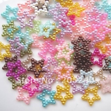 Jewelry Materials For DIY Decoration Mixed Colors(2000pcs/Bag) About 13mm Flat Back Colorful Pearl Star