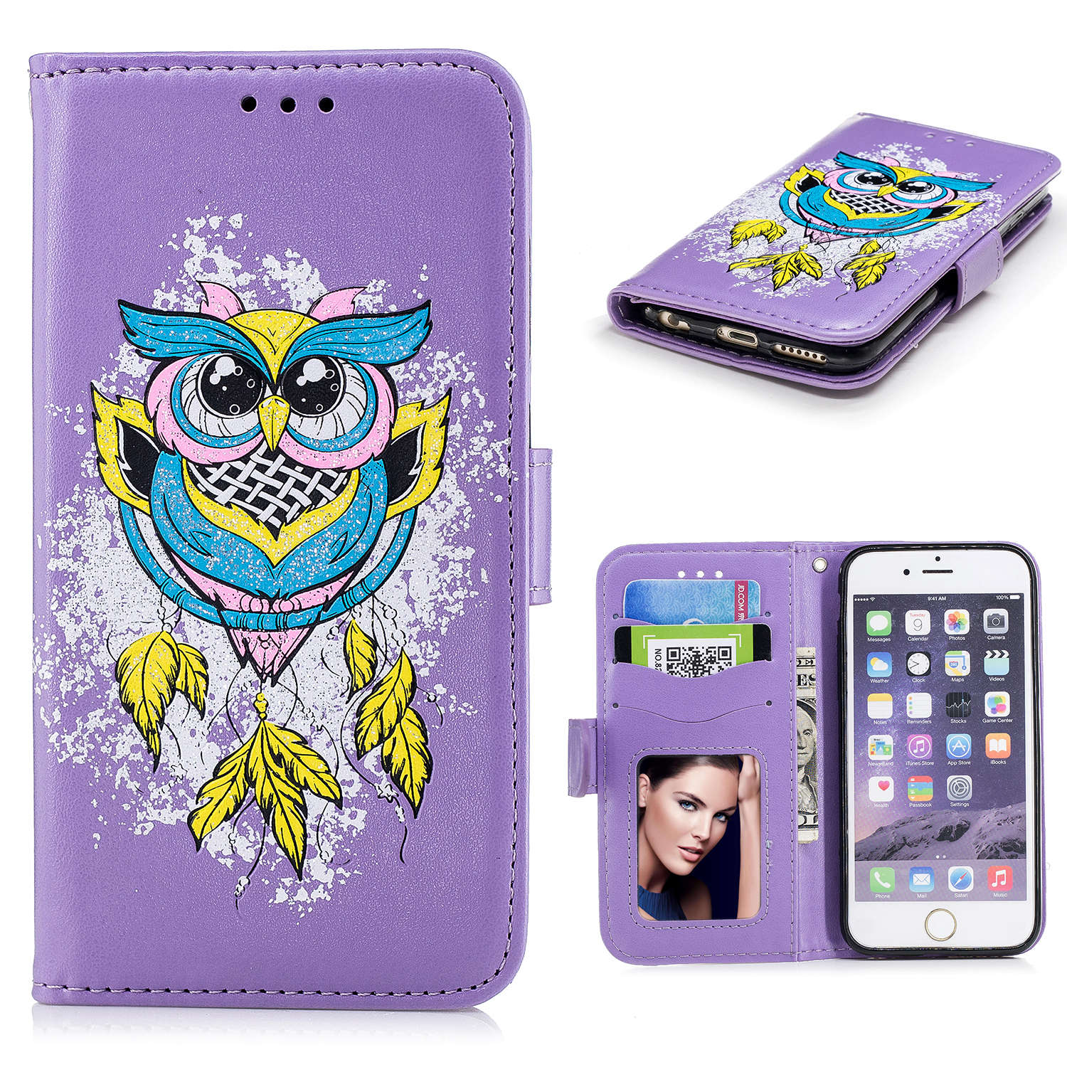 Nem PU diamond owl pattern Phone Cover For Apple iphone 6s Leather Bag Wallet For iPhone 6s Cases Beautiful Butterfly Cover