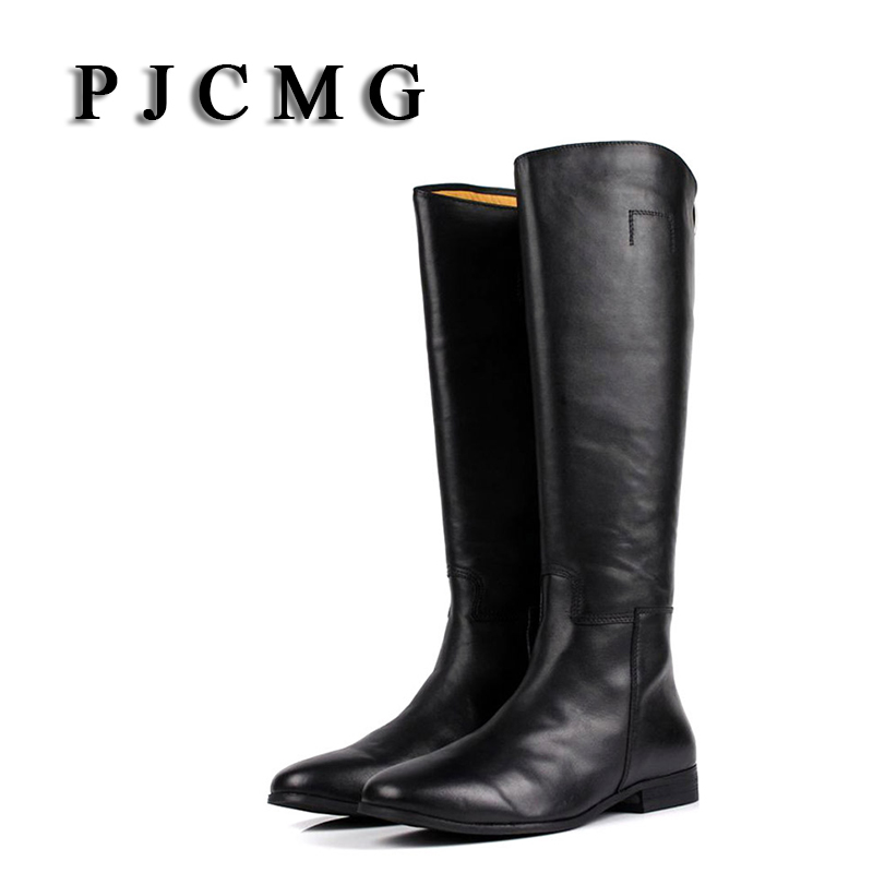 PJCMG New Autumn/Winter Men's Outdoor Genuine Leather Knee-High Waterproof Snow Boots Tooling Plush Shoes