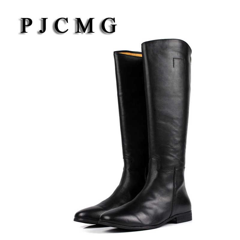 PJCMG/Новинка; сезон осень-зима; мужские уличные сапоги высокого качества из натуральной кожи до колена; водонепроницаемые зимние сапоги; рабочие ботинки; обувь из плюша