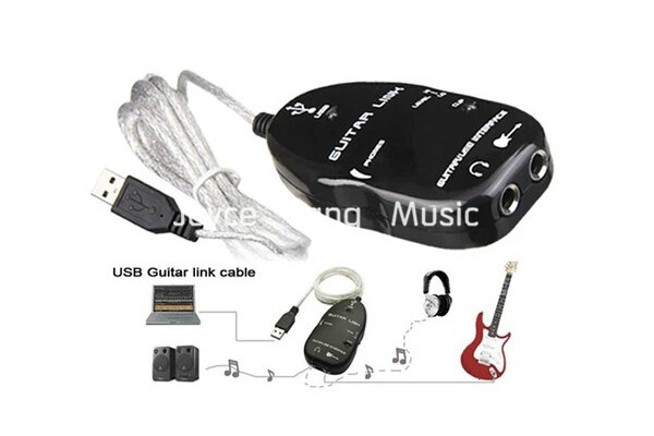 Electric Guitar Interface Link Audio USB Cable Adapter To Computer For PC/MAC Black White