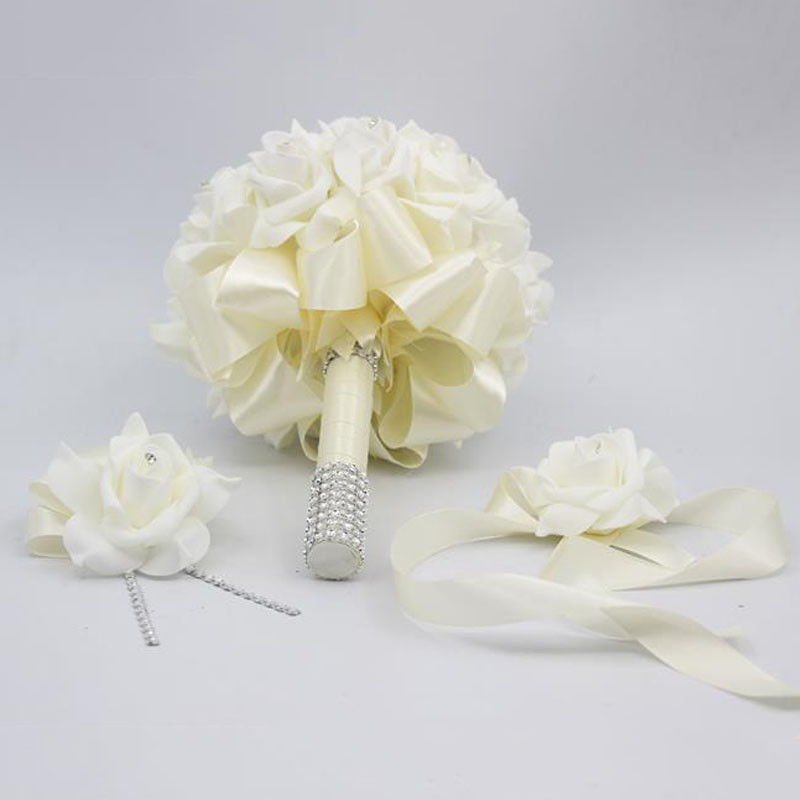3 Pcs Beige Bride Bridesmaid Rose Flower S Wedding Bouquet Man Boutonniere Wrist Corsage Set Home Party