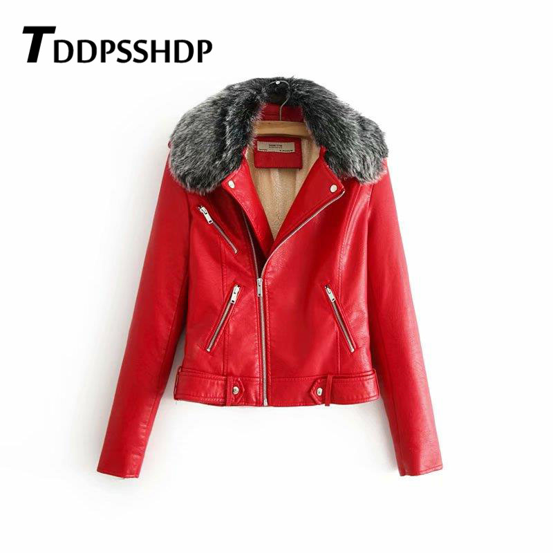 2019 Spring Autumn Jacket Soft   Leather   Coat Turn-down Collar Zipper Motorcycle Jackets