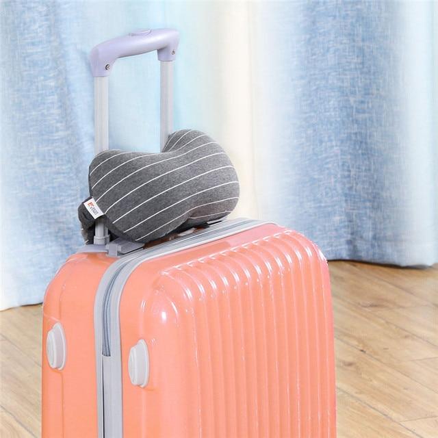 XC USHIO 2019 New 2 in 1 Grey Travel Neck Pillow & Eye Mask & Storage Bag with Handle Portable Comfortable Elegant Hand Washable 5