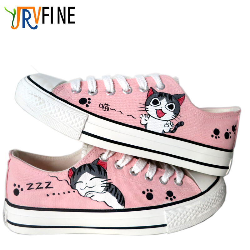 YJRVFINE Cartoon Cat Unisex Hand painted Canvas Shoes Comfortable Walking Shoe Flat Student Custom Anime Cosplay
