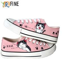 Yjrvfine мультфильм cat мужская ручная роспись холст обувь удобную обувь плоским студент пользовательские аниме косплей обувь для взрослых