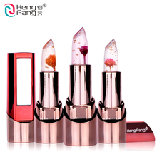 Gold Flower Lipstick 3 Fruit Flavors Temperature changed Lip Balm Moisturizer Lips 3.5g Makeup Brand HengFang #H9302