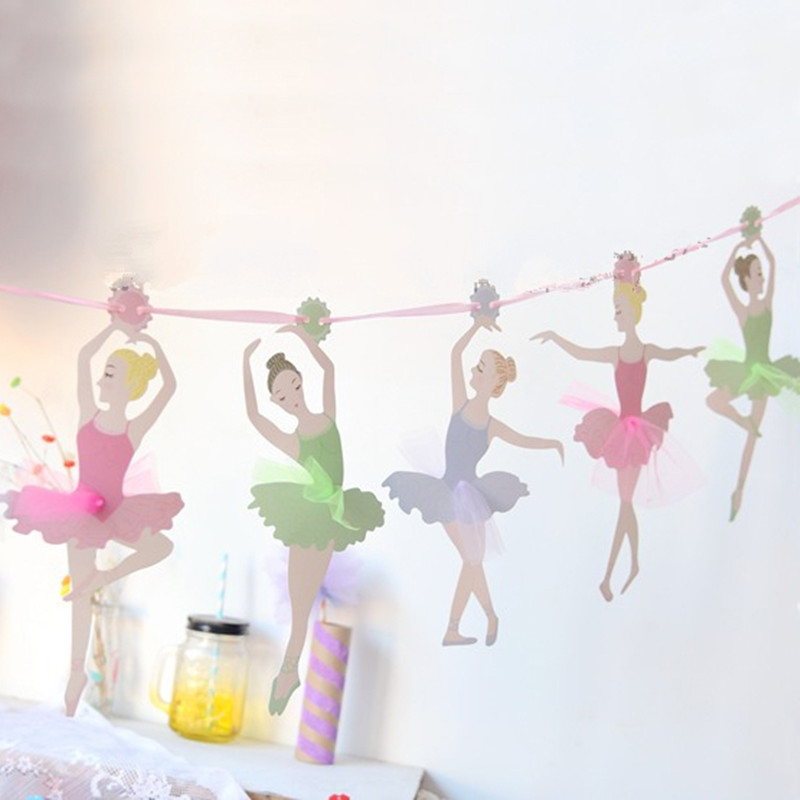 3.5m Ballet Girls Banners Party Decor Kids Birthday Event Bunting Supplies Baby Shower Hanging Banners Happy Background Garlands