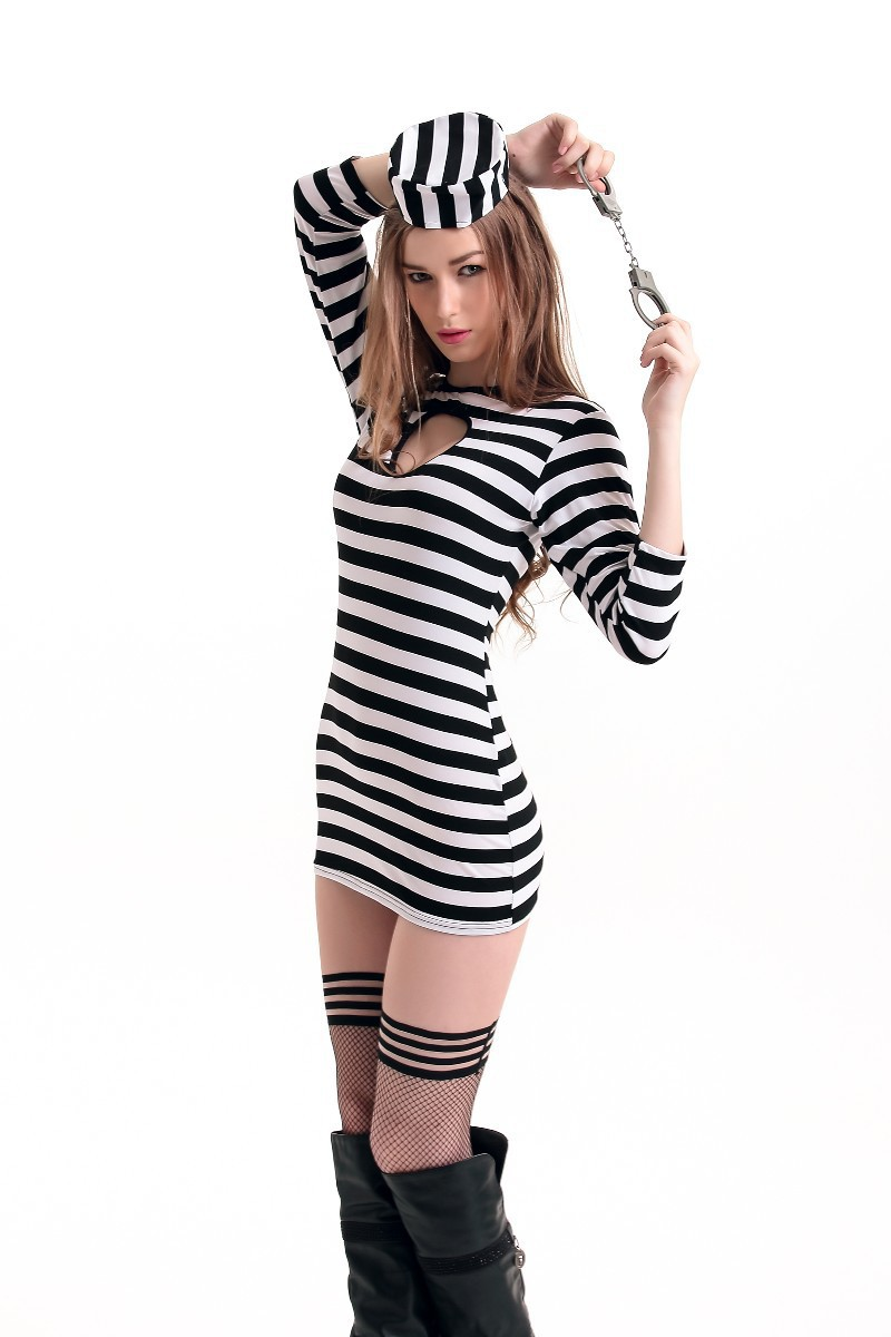 Halloween Prisoner cosplay costume style Sexy Womens Convict Costume Jail Prisoner white and black strip uniform Party Dress on Aliexpress.com | Alibaba ...  sc 1 st  AliExpress.com & Halloween Prisoner cosplay costume style Sexy Womens Convict Costume ...