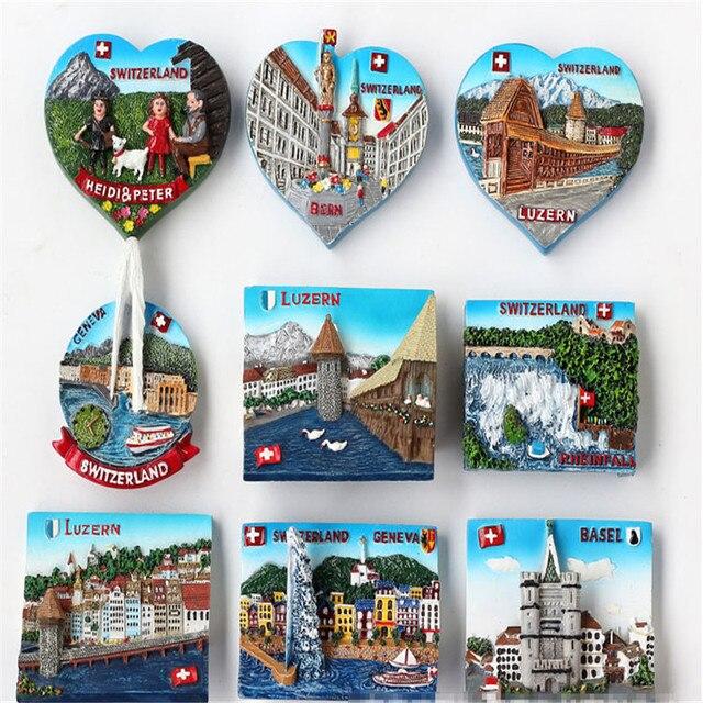 Random Mix 3d European Alps Attractions Resin Refrigerator Fridge Magnet Home Decoration Craft