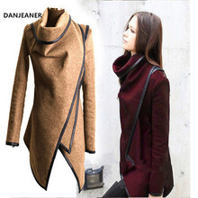 DANJEANER Casaco Feminino 2019 Women Woolen Trench Coat Casual Long Sl