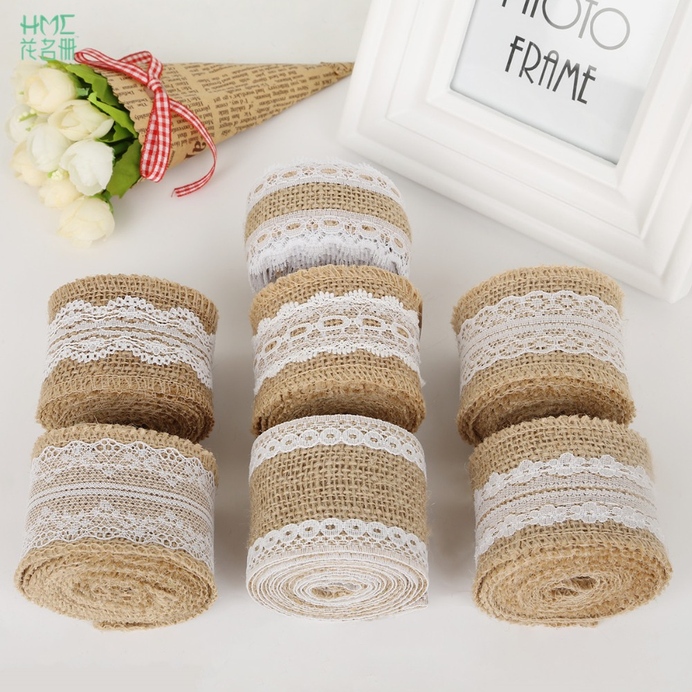5cm 2m roll natural jute burlap hessian ribbon with cotton for Diy jute