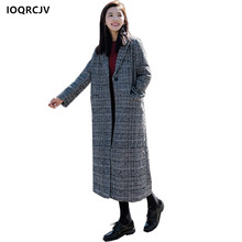 2018 Winter Spring New Women's Coat Blended Woolen Medium-length Suit Collar Plaid Casual Long Sleeve Female Jacket IOQRCJV F10