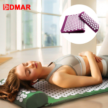 DMAR Yoga Treat Acupressure Mat Pillow Back Body Massager Acupuncture Cushion Pain Relief with Drop Ship