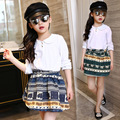 Fashion girl roupas crianças TAMANHO 8 9 10 blusa branca + saia tutu print pattern moda adolescente roupa roupas set para meninas